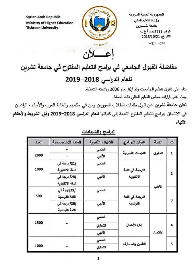 اعلان مفاضلة تعليم مفتوج جامعة تشرين