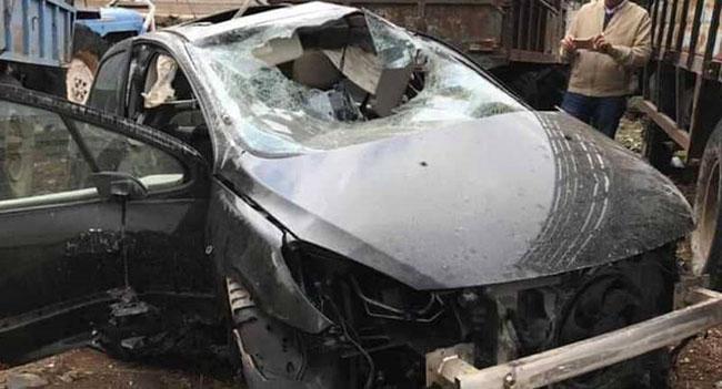 سيارة مهند قطيش بعد الحادث