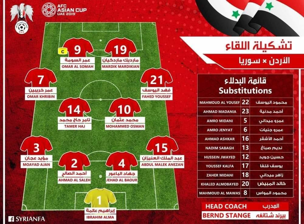 تشكيلة منتخب سوريا مع الأردن