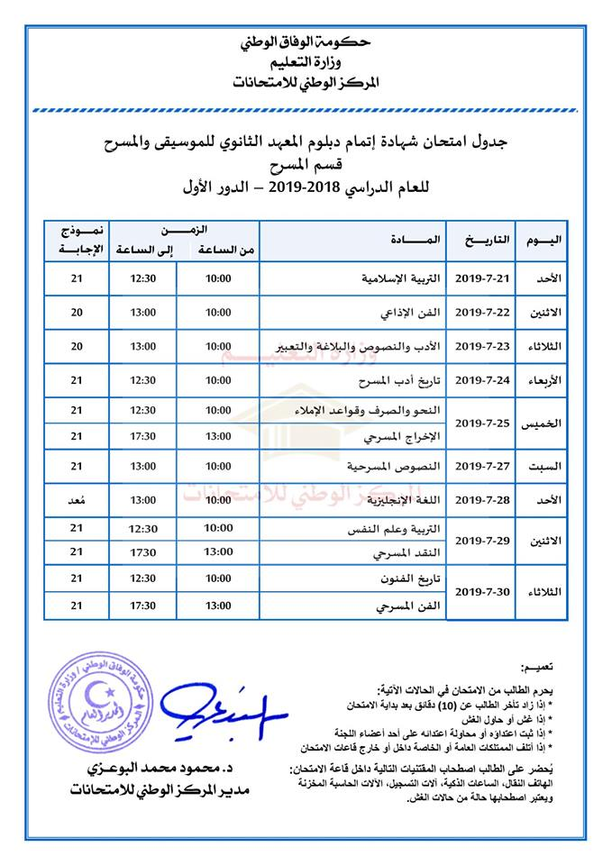 برنامج فحص ثانوي مسرح دور أول ليبيا في ال\اخل