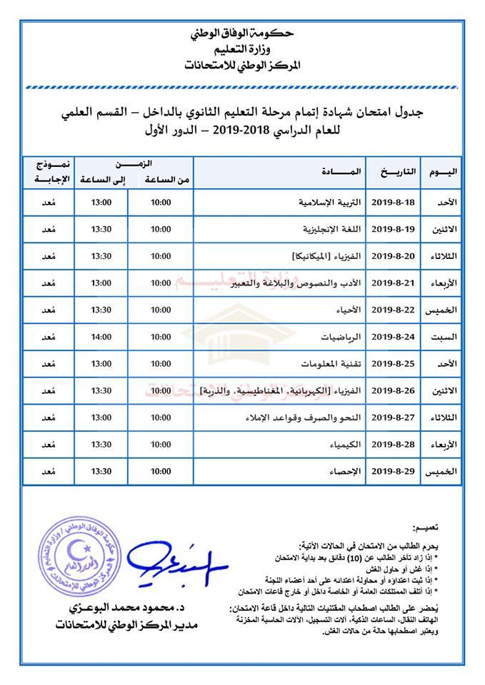 برنامج فحص ثانوي علمي دور أول ليبيا في ال\اخل