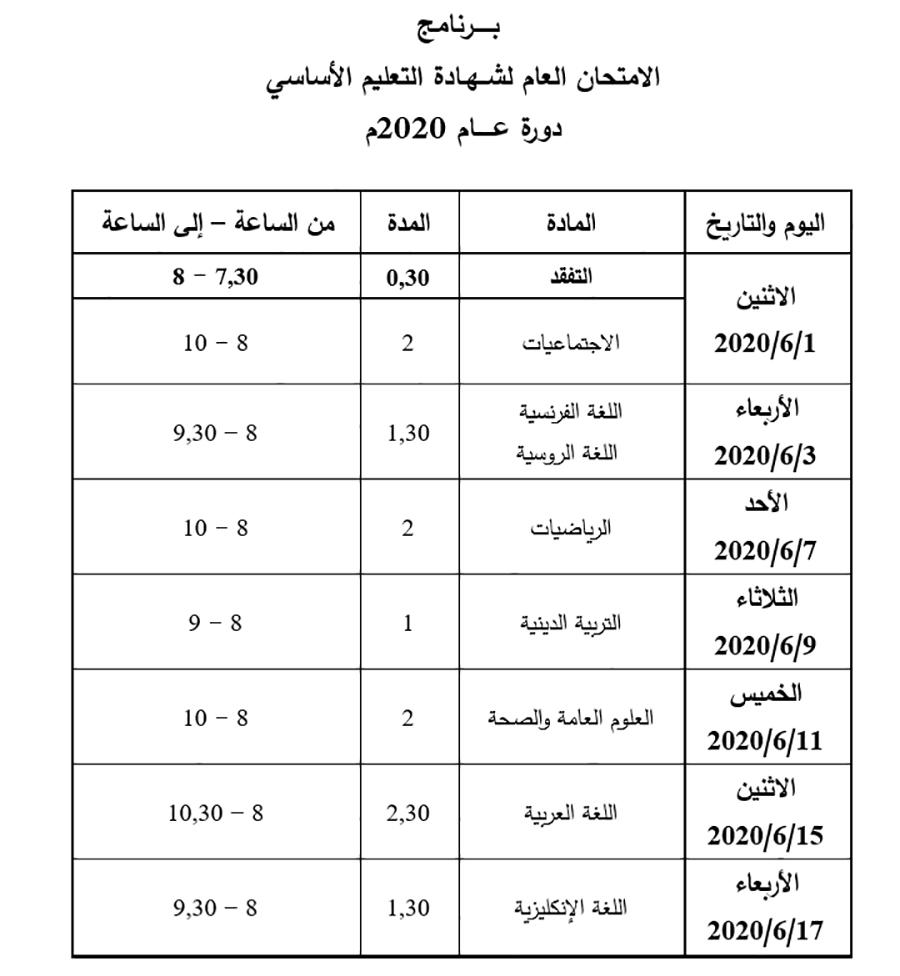 برنامج فحص التاسع سوريا 2020