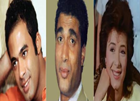 الممثل الراحل أحمد زكي مع زوجته الراحلة هالة فؤاد و ال